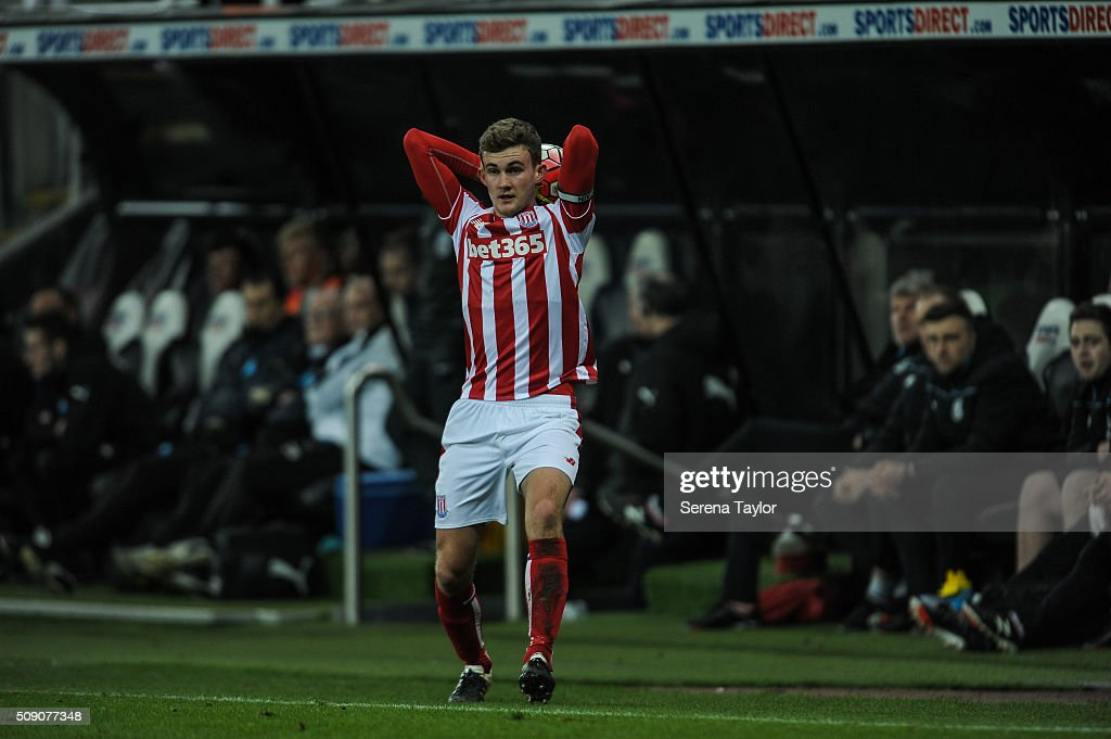 Lewis Banks of Stoke City looks to throw the ball from the sidelines during the Barclays Premier League U21 match between Newcastle United and Stoke City at St.James' Park on February 8, 2016, in Newcastle upon Tyne, England.