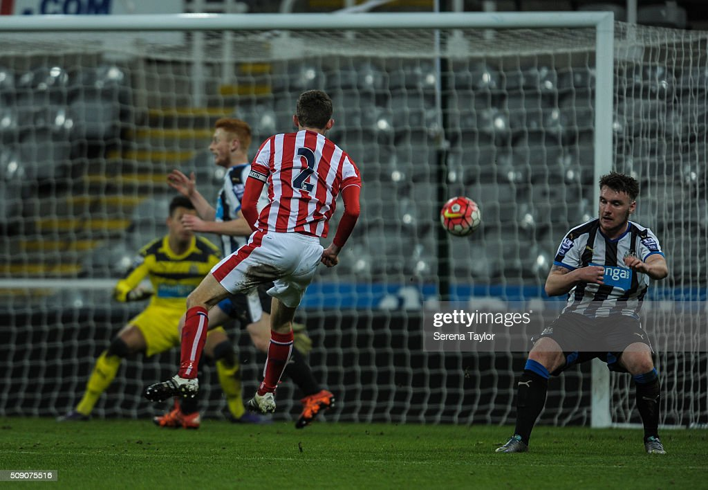 Lewis Banks of Stoke City (2) strikes the ball and scores to win the Barclays Premier League U21 match between Newcastle United and Stoke City at St.James' Park on February 8, 2016, in Newcastle upon Tyne, England.