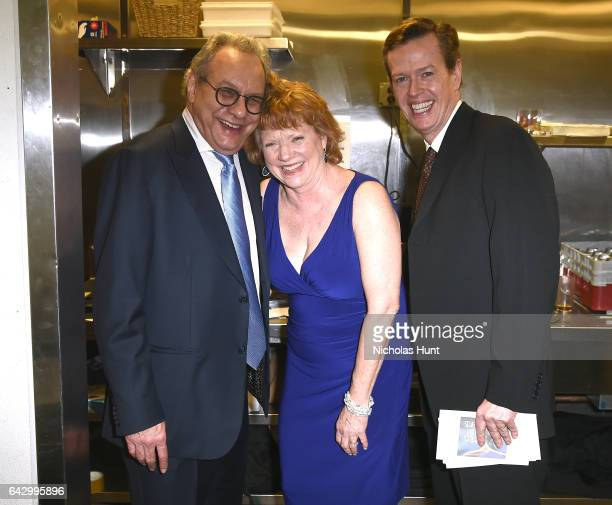 Lewis Black Becky Ann Baker and Dylan Baker pose backstage at 69th Writers Guild Awards New York Ceremony at Edison Ballroom on February 19 2017 in...