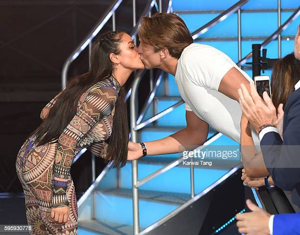 Lewis Bloor kisse Marnie Simpson who was evicted from the final of Celebrity Big Brother 2016 at Elstree Studios on August 26 2016 in Borehamwood...