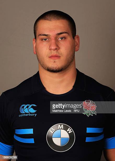 Lewis Boyce of England U18's poses for a portrait during an England Rugby Union U18's Headshot session at Loughborough University on November 1 2013...