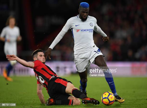 Lewis Cook of AFC Bournemouth tackles Tiemoue Bakayoko of Chelsea during the Premier League match between AFC Bournemouth and Chelsea at Vitality...