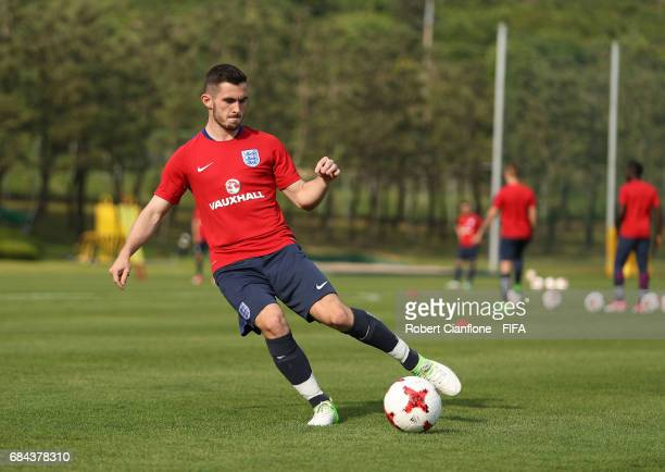 Lewis Cook of England kicks the ball during an England training session at the Jeonbuk FC Training Field ahead of the FIFA U20 World Cup on May 18...