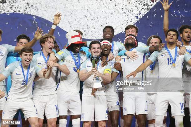 Lewis Cook of England lifts the trophy during the FIFA U20 World Cup Korea Republic 2017 Final match between Venezuela and England at Suwon World Cup...