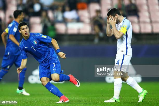 Lewis Cook of England reacts after Riccardo Orsolini of Italy scored a goal during the FIFA U20 World Cup Korea Republic 2017 Semi Final match at...