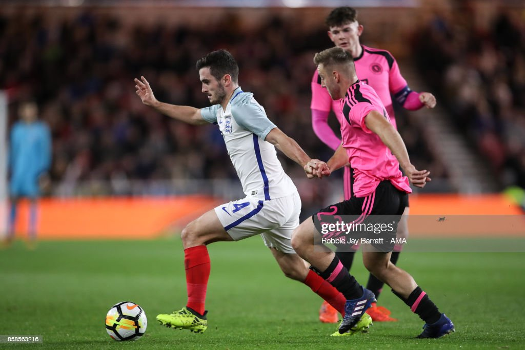 Lewis Cook of England U21 and Allan Campbell of Scotland U21 during the UEFA European Under 21 Championship Qualifiers fixture between England U21 and Scotland U21 at Riverside Stadium on October 6, 2017 in Middlesbrough, England.