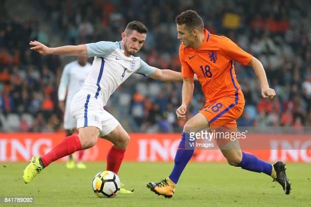 Lewis Cook of England U21 Oussama Idrissi of Holland U21 during the EURO U21 2017 qualifying match between Netherlands U21 and England U21 at the...