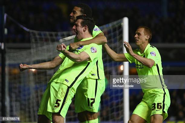 Lewis Dunk of Brighton and Hove Albion celebrates scoring his sides second goal during the Sky Bet Championship match between Birmingham City and...