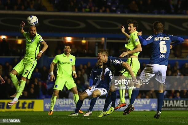 Lewis Dunk of Brighton and Hove Albion scores his sides second goal during the Sky Bet Championship match between Birmingham City and Brighton and...