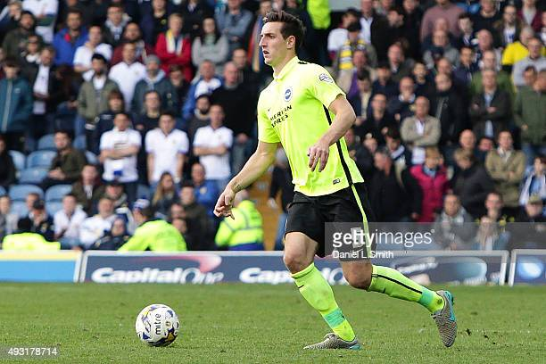 Lewis Dunk of Brighton Hove Albion FC controls the ball during the Sky Bet Championship match between Leeds United and Brighton Hove Albion at Elland...