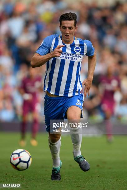 Lewis Dunk of Brighton in action during the Premier League match between Brighton and Hove Albion and Manchester City at Amex Stadium on August 12...
