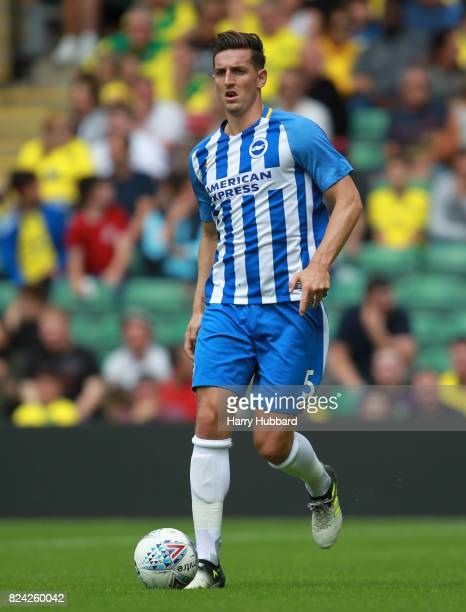 Lewis Dunk of Brighton in action during the preseason friendly match between Norwich City and Brighton Hove Albion at Carrow Road on July 29 2017 in...