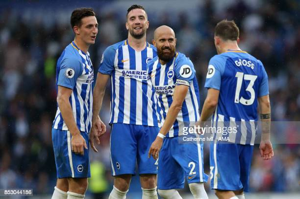 Lewis Dunk Shane Duffy Bruno Saltor and Pascal Gross of Brighton and Hove Albion celebrate after the Premier League match between Brighton and Hove...