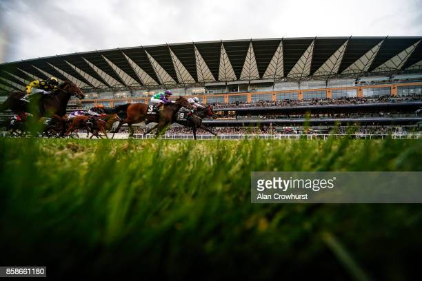 Lewis Edmunds riding Erissimus Maximus win The McGee Lighthouse Club Handicap Stakes at Ascot racecourse on October 7 2017 in Ascot United Kingdom