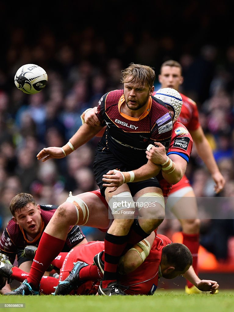 Lewis Evans of Newport in action during the Guinness Pro 12 match between Newport Gwent Dragons and Scarlets at Principality Stadium on April 30, 2016 in Cardiff, United Kingdom.