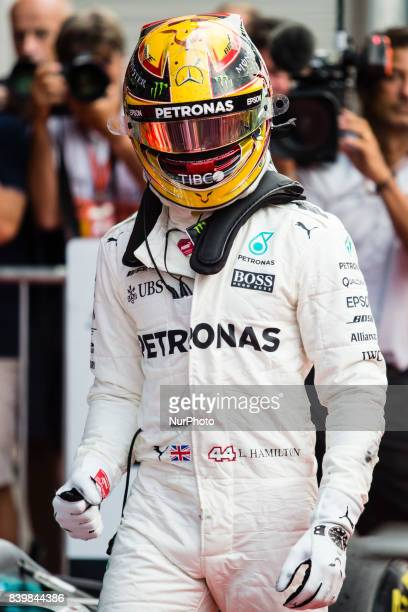 Lewis from Great Britain of team Mercedes GP celebrating his victory during the Formula One Belgian Grand Prix at Circuit de SpaFrancorchamps on...