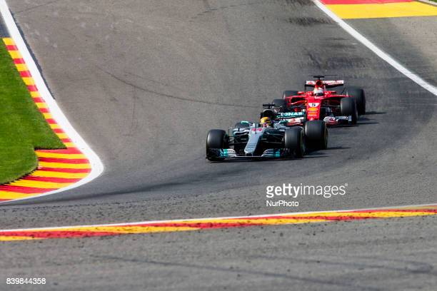 Lewis from Great Britain of team Mercedes GP defending of the attack of 05 VETTEL Sebastian from Germany of scuderia Ferrari during the Formula One...