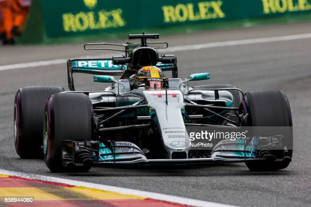Lewis from Great Britain of team Mercedes GP during the Formula One Belgian Grand Prix at Circuit de SpaFrancorchamps on August 25 2017 in Spa Belgium