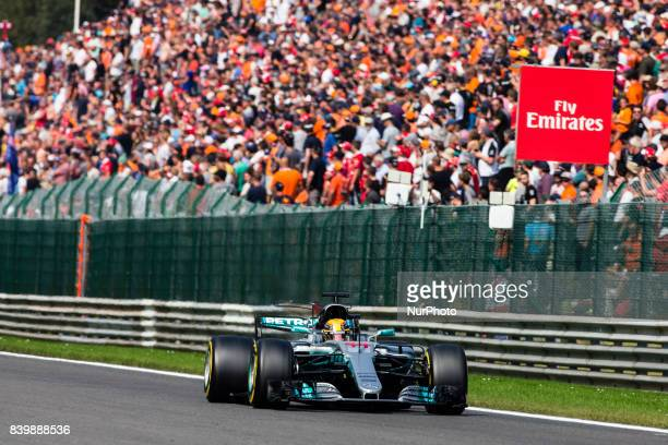 Lewis from Great Britain of team Mercedes GP during the Formula One Belgian Grand Prix at Circuit de SpaFrancorchamps on August 27 2017 in Spa Belgium