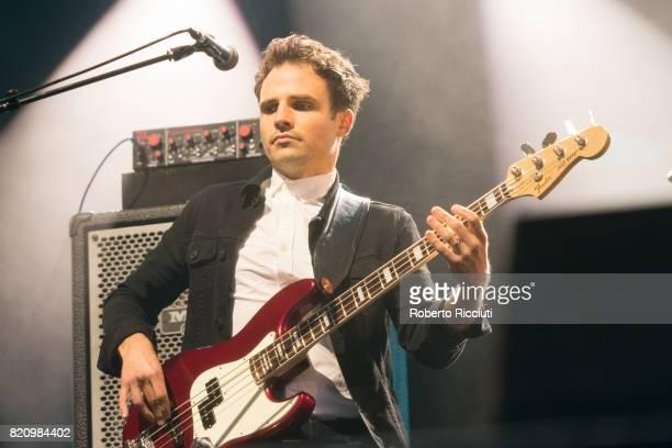 Lewis Gordon of Scottish pop rock band Deacon Blue performs on stage at Edinburgh Castle on July 22 2017 in Edinburgh Scotland