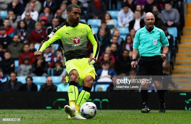 Lewis Grabban of Reading scores a goal from the penalty spot during the Sky Bet Championship match between Aston Villa and Reading at Villa Park on...