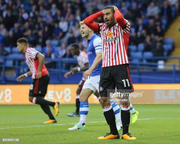 Lewis Grabban of Sunderland after missing a chance during the Sky Bet Championship match between Sheffield Wednesday and Sunderland at Hillsborough...