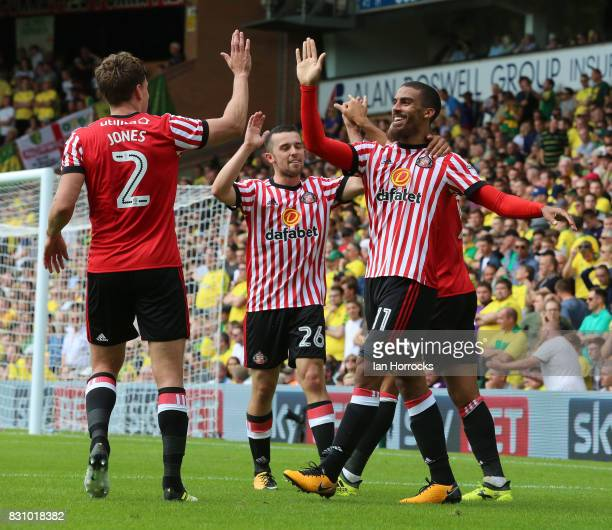 Lewis Grabban of Sunderland celebrates after he scores the third Sunderland goal during the Sky Bet Championship match between Norwich City and...