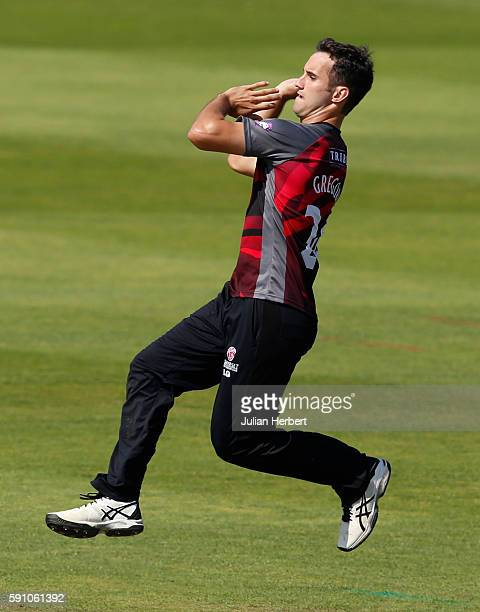 Lewis Gregory of Somerset bowls during the Royal London OneDay Cup Quarter Final between Somerset and Worcestershire at The Cooper Associates County...