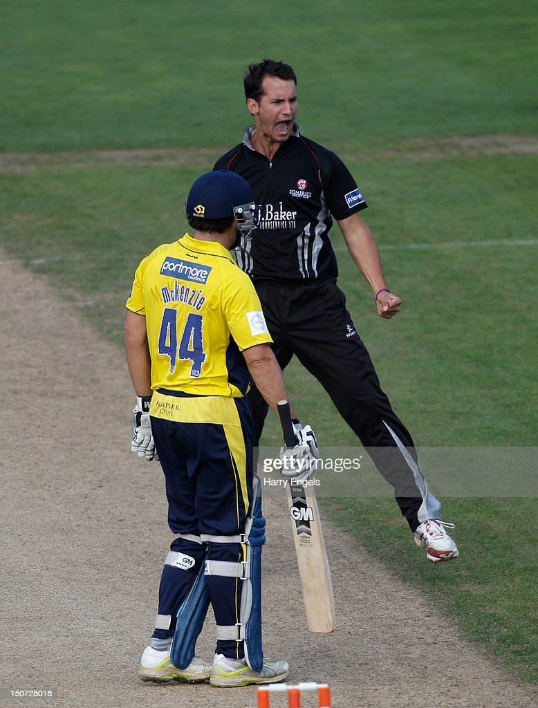 Lewis Gregory of Somerset celebrates dismissing <a gi-track='captionPersonalityLinkClicked' href=/galleries/search?phrase=Neil+McKenzie+-+Cricket+Player&family=editorial&specificpeople=2224176 ng-click='$event.stopPropagation()'>Neil McKenzie</a> of Hampshire during the Friends Life T20 Semi Final match between Hampshire and Somerset at the SWALEC Stadium on August 25, 2012 in Cardiff, Wales.