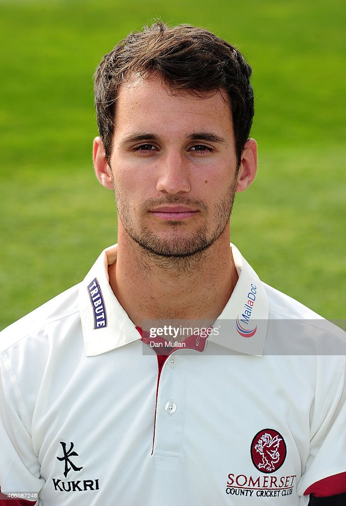 Lewis Gregory of Somerset poses during the Somerset CCC Photocall at The County Ground on March 17 2015 in Taunton England