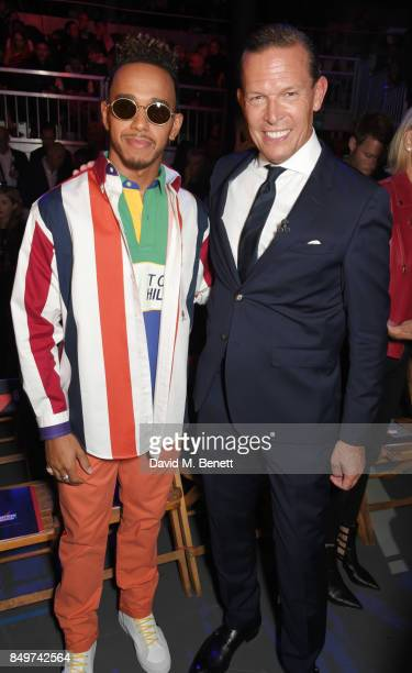 Lewis Hamilton and Frank Cancelloni attend the Tommy Hilfiger TOMMYNOW Fall 2017 Show during London Fashion Week September 2017 at The Roundhouse on...