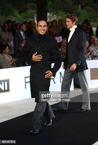 Lewis Hamilton and Jenson Button model at the Grand Prix and Fashion Unite at The Amber Lounge Le Meridien Beach Plaza Hotel Monaco