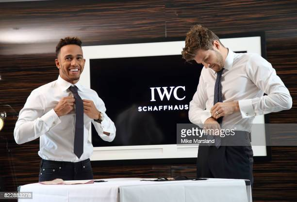 Lewis Hamilton and Jim Chapman visit the IWC Schaffhausen London Boutique on New Bond Street to celebrate his British Grand Prix win and launch the...