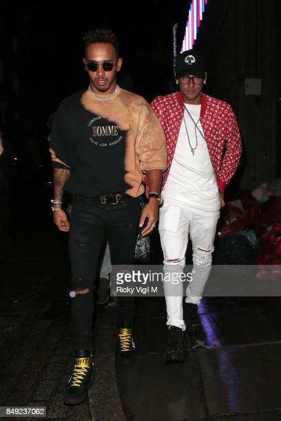Lewis Hamilton and Neymar seen at Miu Miu X LOVE Magazine party at No 5 Hertford Street during London Fashion Week September 2017 on September 18...