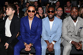 Lewis Hamilton and Tinie Tempah are seen on the front row of the CaselyHayford show during The London Collections Men SS16 at The Old Sorting Office...