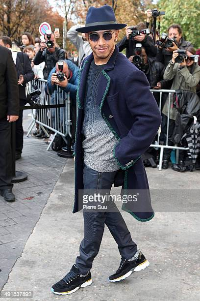 Lewis Hamilton arrives at the Chanel show as part of the Paris Fashion Week Womenswear Spring/Summer 2016 on October 6 2015 in Paris France