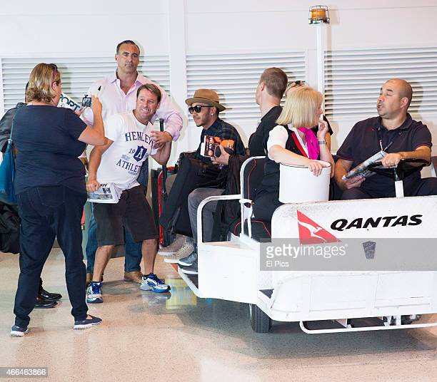 Lewis Hamilton arrives into Sydney on March 16 2015 in Sydney Australia