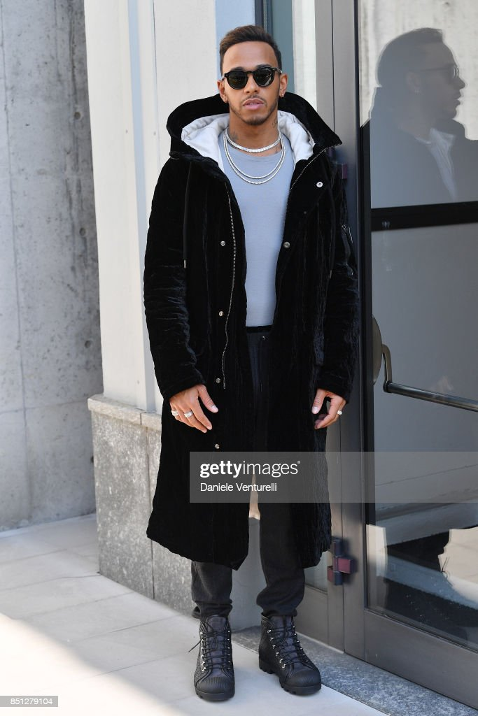 Lewis Hamilton attends the Giorgio Armani show during Milan Fashion Week Spring/Summer 2018 on September 22, 2017 in Milan, Italy.