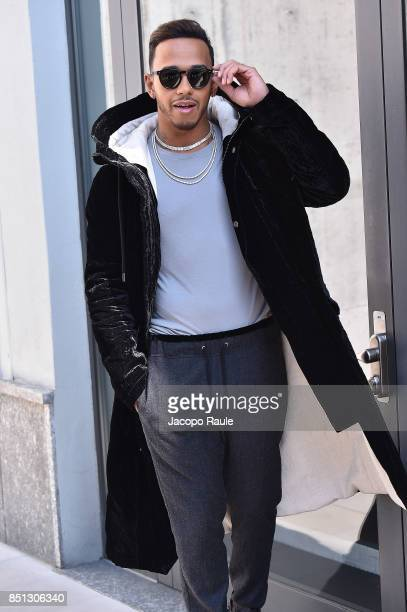 Lewis Hamilton attends the Giorgio Armani show during Milan Fashion Week Spring/Summer 2018 on September 22 2017 in Milan Italy