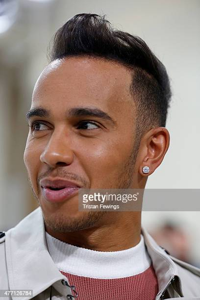 Lewis Hamilton attends the J W Anderson show during The London Collections Men SS16 at Yeomanry House on June 14 2015 in London England