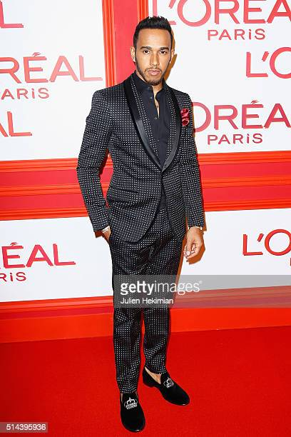 Lewis Hamilton attends the L'Oreal Red Obsession Party Photocall as part of the Paris Fashion Week Womenswear Fall/Winter 2016/2017 on March 8 2016...