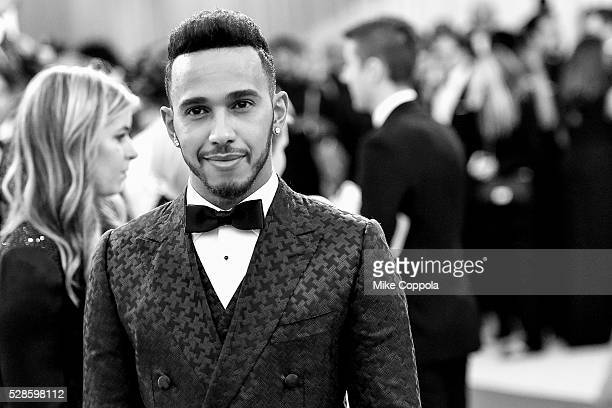 Lewis Hamilton attends the 'Manus x Machina Fashion In An Age Of Technology' Costume Institute Gala at Metropolitan Museum of Art on May 2 2016 in...