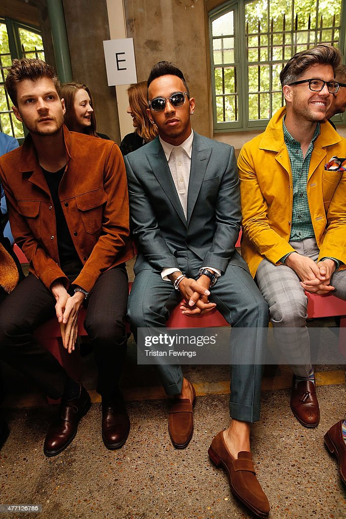 Lewis Hamilton attends the Richard James show during The London Collections Men SS16 at the ICA car park on June 14 2015 in London England