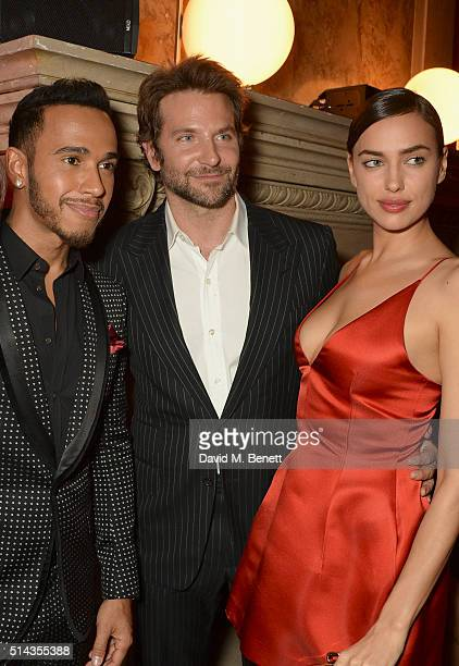 Lewis Hamilton Bradley Cooper Irina Shayk attend the Red Obsession party to celebrate L'Oreal Paris's partnership with Paris Fashion Week on March 8...