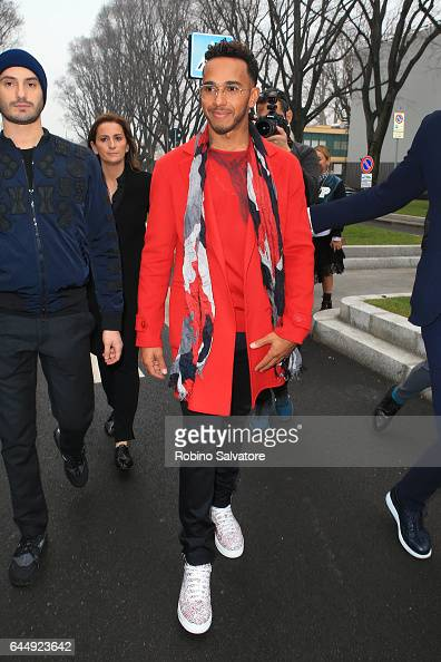 Lewis Hamilton is seen during Milan Fashion Week Fall/Winter 2017/18 on February 24 2017 in Milan Italy