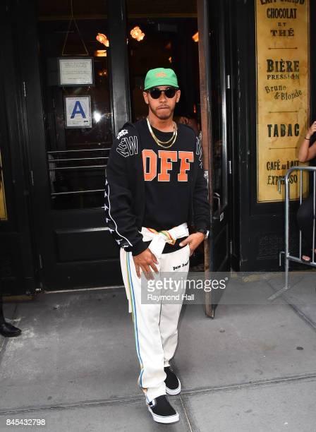 Lewis Hamilton is seen outside Balthazar in Soho on September 10 2017 in New York City