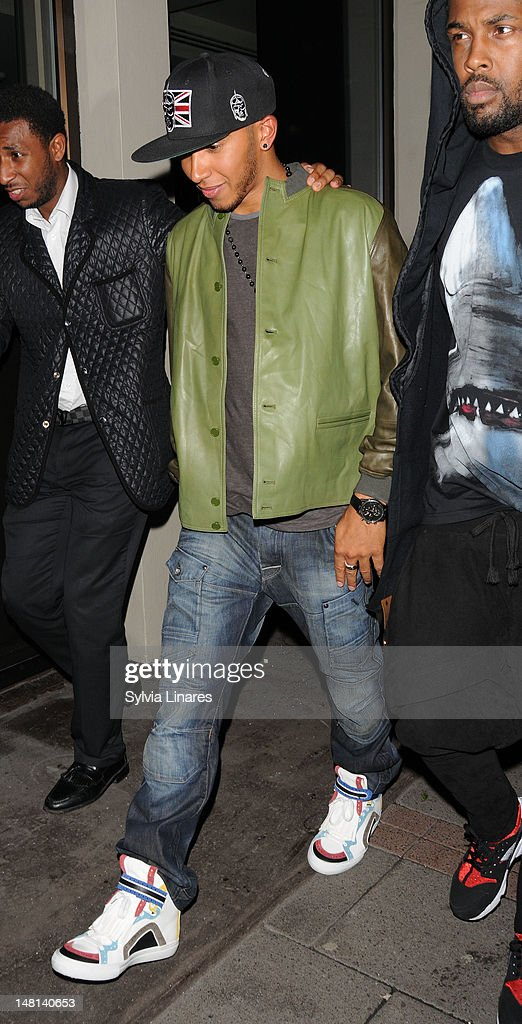 Lewis Hamilton leaving Funky Buddha Club on July 10, 2012 in London, England.