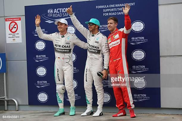 Lewis Hamilton Mercedes Grand Prix Platz 1 beim Qualifying Sebastian Vettel Scuderia Ferrari Platz 2 Platz 3 Nico Rosberg Mercedes Grand Prix formula...