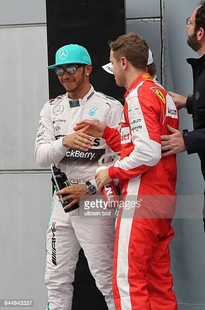 Lewis Hamilton Mercedes Grand Prix Platz 1 beim Qualifying Sebastian Vettel Scuderia Ferrari Platz 2 formula 1 GP Malaysia in Kuala Lumpur/Sepang