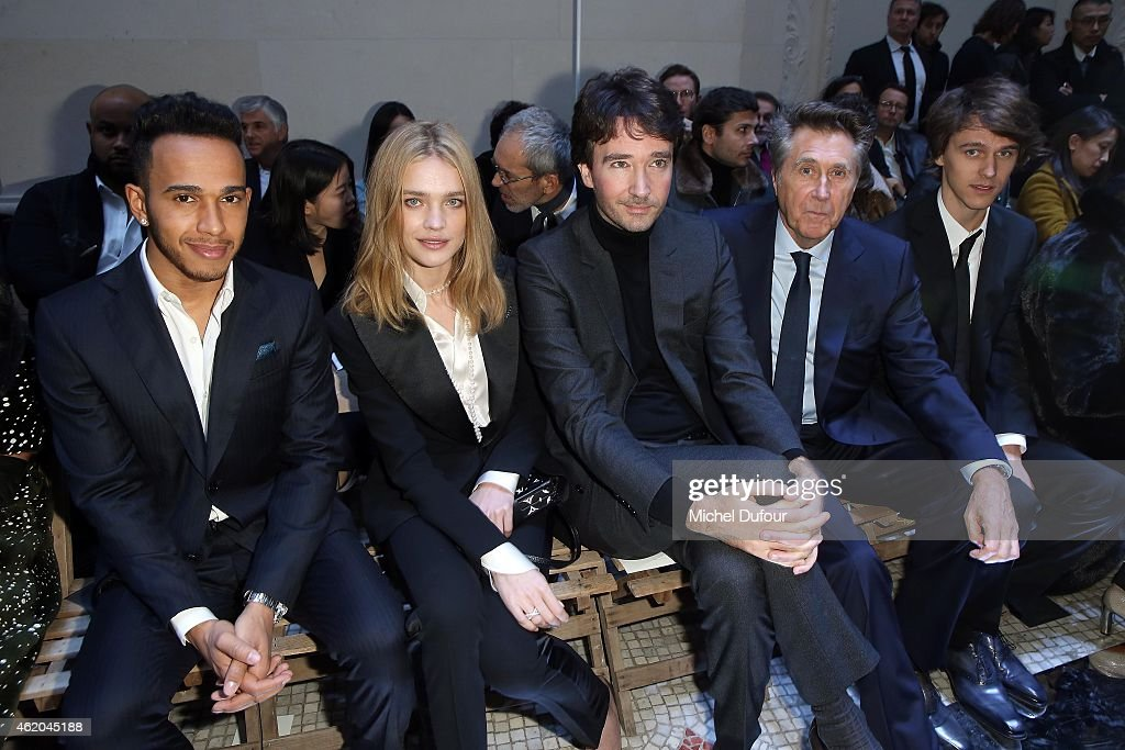 Lewis Hamilton, Natalia Vodianova, Antoine Arnault and Bryan Ferry attend the Berluti Menswear Fall/Winter 2015-2016 show as part of Paris Fashion Week on January 23, 2015 in Paris, France.